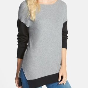 Vince Camuto Gray Colorblock Asymmetrical Sweater